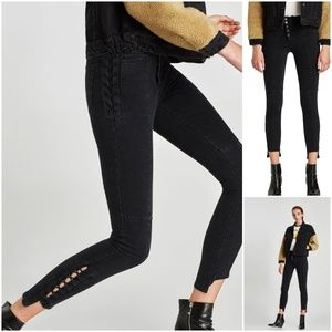NEW Zara high waisted lace up jeans 2